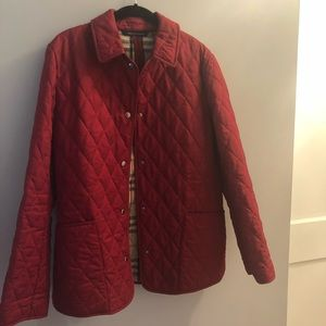 BURBERRY- quilted red jacket. Excellent condition